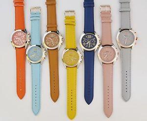 【送料無料】geneva platinum,rose,gold,silver,2 tone,roman numbers,leather watch9647