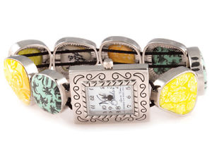 【送料無料】viva beads green envy square pebble watch