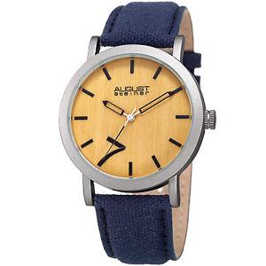 【送料無料】mens august steiner as8238bu signature seven genuine leather canvas strap watch