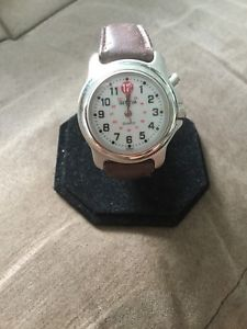 【送料無料】geneva watch men brown wide leather stainless silver 30m white quartz