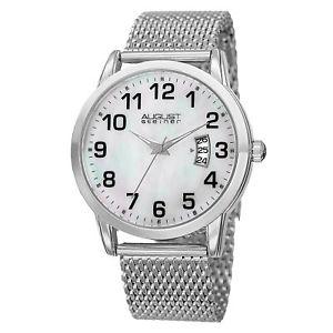【送料無料】mens august steiner as8195ss three hand movement date steel mesh bracelet watch