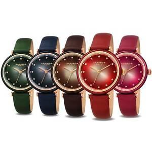 【送料無料】womens akribos xxiv ak1035 swarovski crystal markers leather strap watch