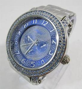 【送料無料】iced out bling rhinestone cz stainless steel watch hip hop 52s00187blu