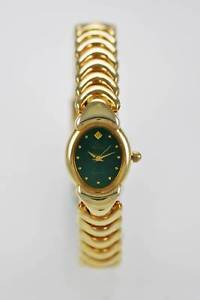【送料無料】elgin watch womens stainless steel gold water resistant battery green quartz