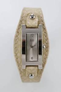 【送料無料】nine amp; company watch women silver stainless water res white leather beige quartz