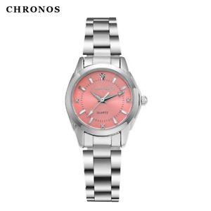 【送料無料】orologio donna chronos women stainless steel watches casual quartz waterproof wr