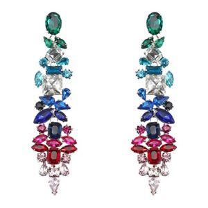 【送料無料】jassy dangle crystal earring emerald sapphire ruby drop earrings geometric zirco