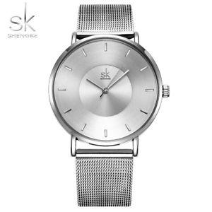 【送料無料】 ultra thin shengke simple silver women watch ladies wristwatch gifts for her