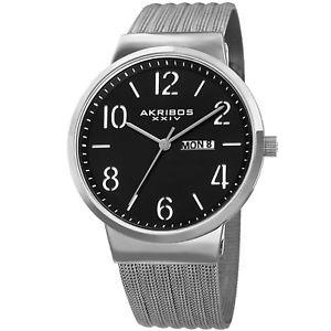 【送料無料】mens akribos xxiv ak996ssb date silver tone stainless steel mesh strap watch