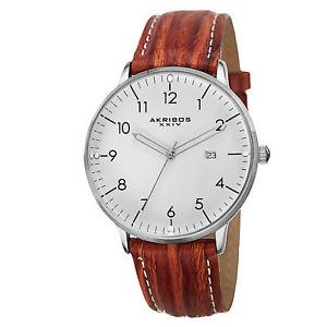 【送料無料】 mens akribos xxiv ak715br swiss quartz date brown genuine leather watch