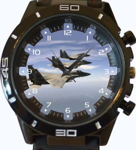 【送料無料】f15 eagles flying over atlantic ocean trendy sports series gift wrist watch