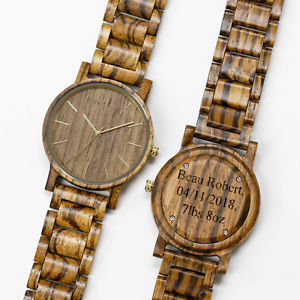 【送料無料】mens custom wood watch engraved personalized wooden birthday groomsmen gift
