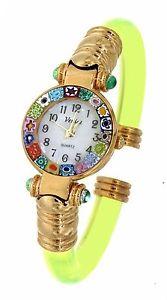 【送料無料】orologio verde watch in vetro di murano murrina millefiori
