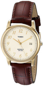 【送料無料】timex mens easy reader quartz gold tone brassbrown leather watch t2m441