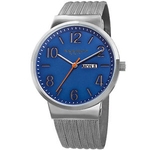 【送料無料】mens akribos xxiv ak996ssbu date silver tone stainless steel mesh strap watch
