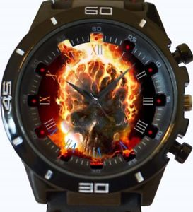 【送料無料】gothic skull on fire gt series sports wrist watch fast uk seller