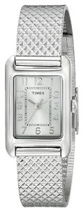【送料無料】timex t2p303 womens analog rectangular watch silvertone steel bracelet