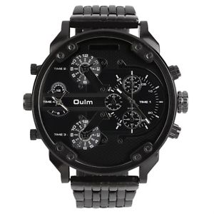 【送料無料】grosse montre 2 oulm 5cm, bracelet metal noir boite et coussinet, neuve