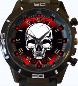 【送料無料】beautiful gothic skull red gt series sports wrist watch fast uk seller