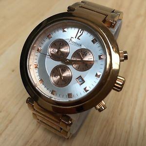 【送料無料】freelook men lady rose gold tone analog quartz chrono watch hour~date~ batter