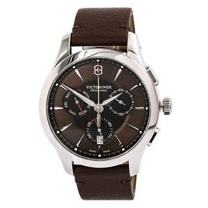 【送料無料】swiss army 241749 mens alliance chronograph brown strap watch