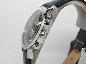 chronographe acier zal cadran bleu mouvement landeron 149,vintage chrono