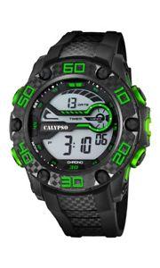 【送料無料】calypso watches chrono k56912 schwarz neon grn neu 1 batterie extra