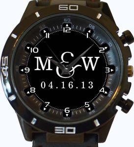 【送料無料】happy wedding anniversary engagement personalize name initials date gift watch