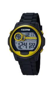 【送料無料】calypso watches chrono k56675 schwarz gold neu 1 batterie extra