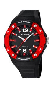 【送料無料】calypso watches analog k56765 schwarz rot neu 1 batterie extra