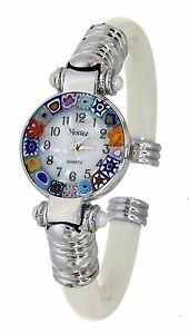 【送料無料】orologio bianco watch in vetro di murano murrina millefiori