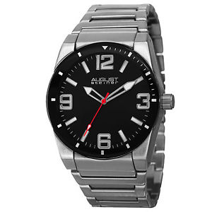 【送料無料】 mens august steiner as8152ssb easy to read swiss silvertone bracelet watch