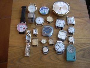 【送料無料】lotto 20 orologi meccanici alcuni russi alcuni al quarzo da testare