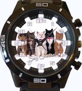 【送料無料】cats lover adorable feline group photo gt series sports wrist watch