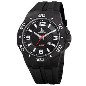 mens joshua amp; sons jx115 quartz date sporty silicone strap watch
