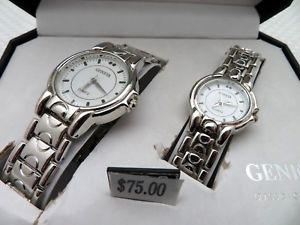 【送料無料】geneva classic collection silver tone his and hers matching quartz wristwatches