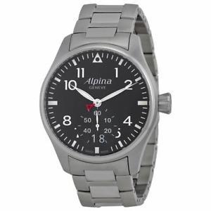 【送料無料】alpina mens startimer pilot 44mm steel bracelet quartz watch al280b4s6b