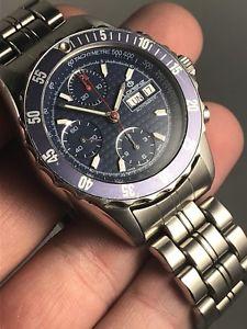 【送料無料】vintage lorenz chronograph cronografo watch orologio blue top condition