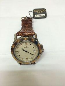 【送料無料】orologio movado tempoaquatic watch nuovo 100 m lusso pelle marrone 560702483
