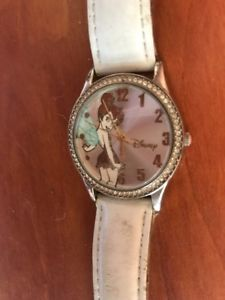 tinker bell tk1053 by accutime ladies two tone white adjustable strap watch work