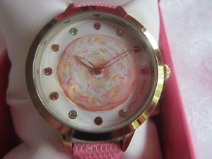 【送料無料】betsey johnson spinning out doughnut jewel indices pink glitz watch nib 50