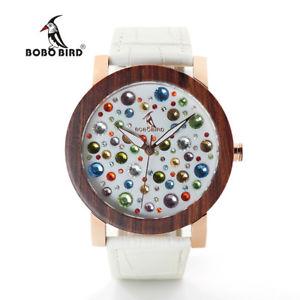 【送料無料】bobo bird high quality leather watch colorful crystals xmas gifts for her women
