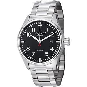 alpina mens startimer pilot 44mm steel bracelet automatic watch al525b4s6b