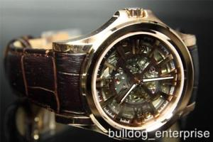 mens bulova accutron 64a103 kirkwood automatic gold skeleton leather watch