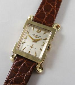 【送料無料】longines solid 14k gold gents nice original vintage fancy lugs 1950s wristwatch
