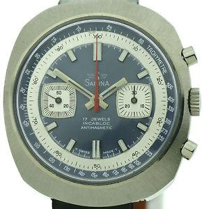 【送料無料】sabina vintage chronograph 70jahre handaufzug valjoux 7733 1a zustand 5 atm nos