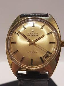 【送料無料】a gentlemans vintage stainless steelgold mans zenith auto sport boxed