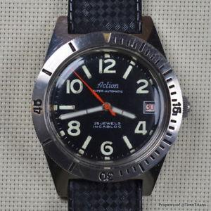 【送料無料】action 1960s skin diver automatic 200m felsa 4007n 38mm stainless steel tropic