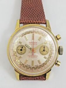 gruen precision chronograph gold plate vintage windup serviced cal 7733