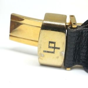 mens lucien piccard swiss quartz date 34mm 18kt solid gold case wrist watch